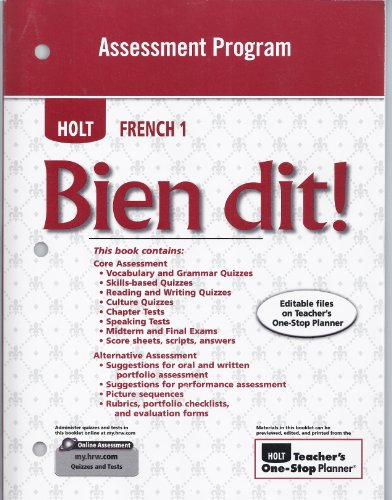 9780030797170: Bien Dit! Assessment Program, Level 1a/1b/1