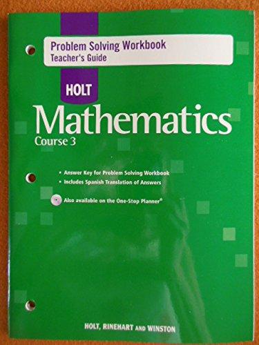9780030797545: Problem Solving Workbook Teacher's Guide Holt Math Course 3 2007