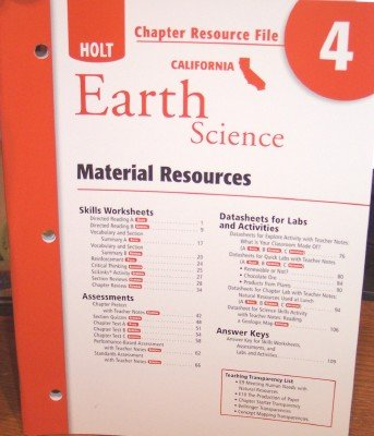 9780030799655: Crf Ch #4 Hlt California Sci 2007 Earth