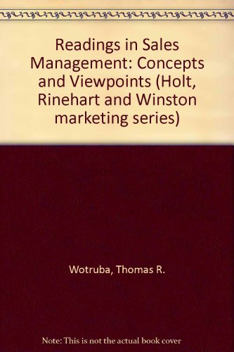 9780030851506: Readings in sales management;: Concepts and viewpoints, (Holt, Rinehart and Winston marketing series)