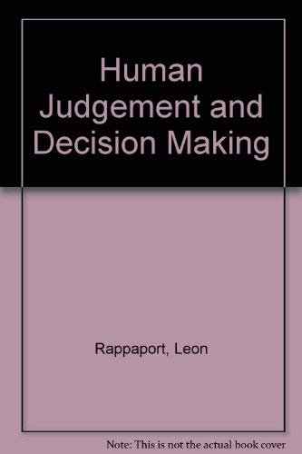 9780030858703: Human Judgement and Decision Making