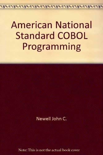 9780030863127: American national standard COBOL programming
