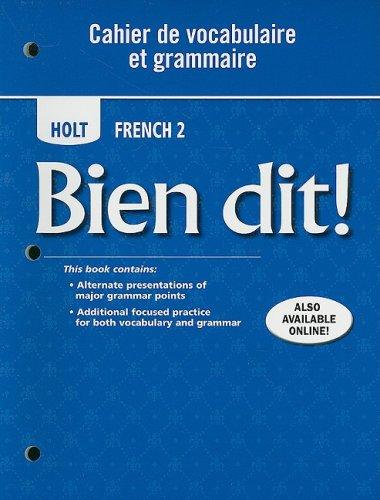 9780030882470: Bien dit!: Cahier de vocabulaire et grammaire Level 2