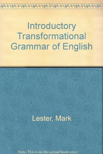 Introductory Transformational Grammar of English.