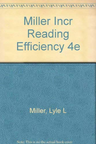 9780030899324: Miller Incr Reading Efficiency 4e
