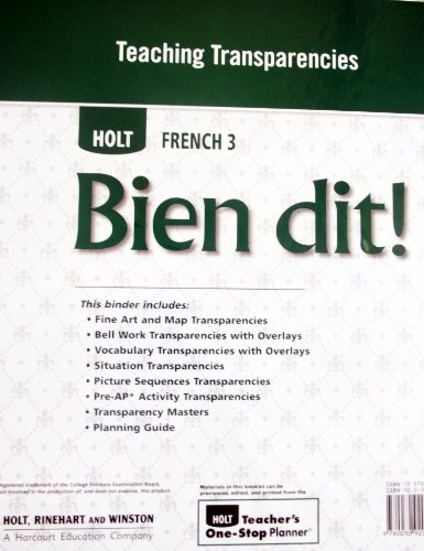 9780030920578: Teaching Transparencies: Bien Dit (Holt French, Level 3)