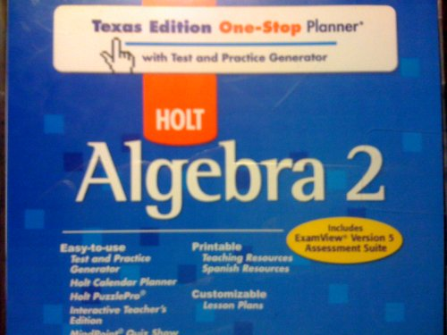 9780030921858: Holt Algebra 2 Texas: One-Stop Planner with Test and Practice Generator CD-ROM Algebra 2