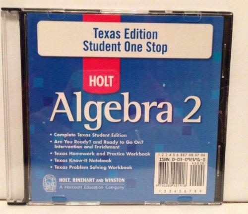 9780030921919: Holt Algebra 2 Texas: Student One-Stop CD-ROM Algebra 2 2007