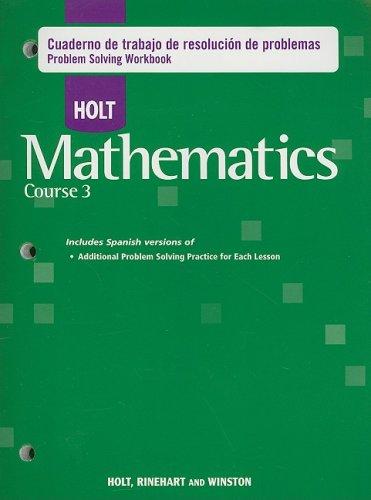 9780030921988: Holt Mathematics Course 3: Cuaderno de trabajo de resolucion de problemas