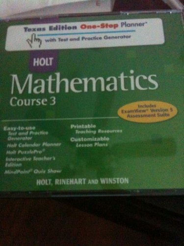 9780030926655: Holt Mathematics Texas: One-Stop Planner with Test and Practice Generator CD-ROM Course 3