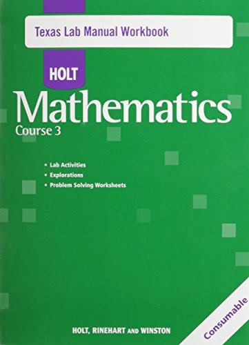9780030927140: Texas Lab Manual Workbook - Holt Mathematics Course 3