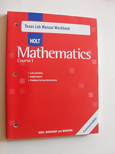 9780030927157: Holt Mathematics Texas: Lab Manual Workbook Course 1