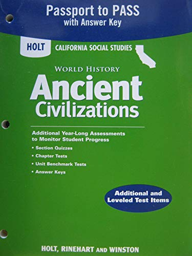 9780030930942: Holt World History Ancient Civilizations California: Passport to Pass with Answer Key Grades 6-8