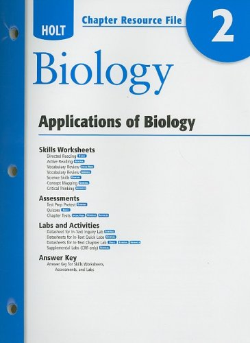 9780030931758: Holt Biology Chapter 2 Resource File: Applications of Biology