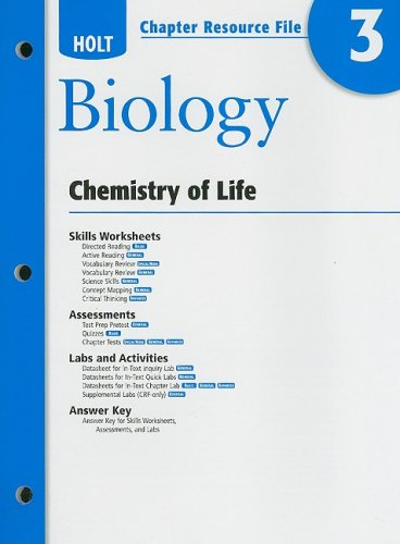 9780030931765: Holt Biology Chapter 3 Resource File: Chemistry of Life