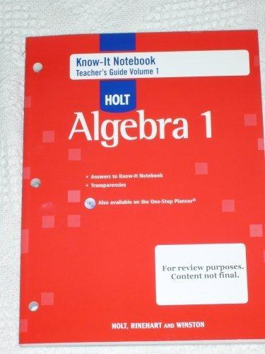 9780030934179: Holt Algebra 1 : Know-It Notebook, Teacher's Guide, Volume 1