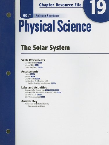 9780030936067: Holt Science Spectrum Physical Science Chapter 19 Resource File: The Solar System