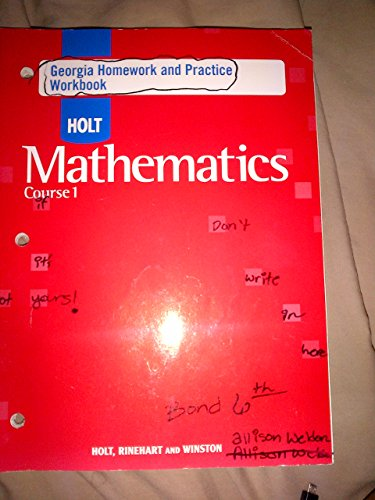 holt mathematics course 1 homework and practice workbook answers