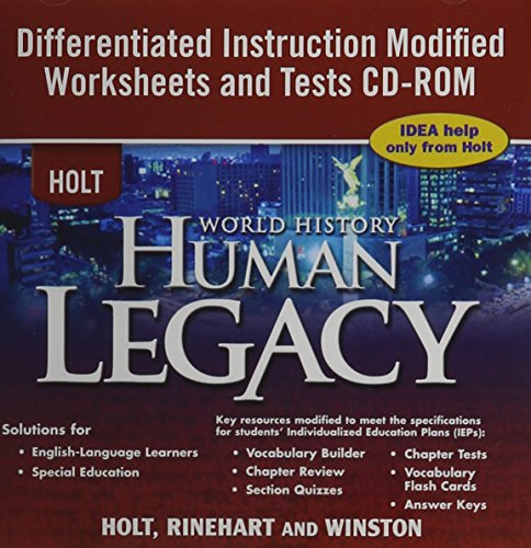 9780030938290: Holt World History ~ CD-ROM ~ Human Legacy ~ Differentiated Instruction Modified Worksheets and Tests with Answer Key