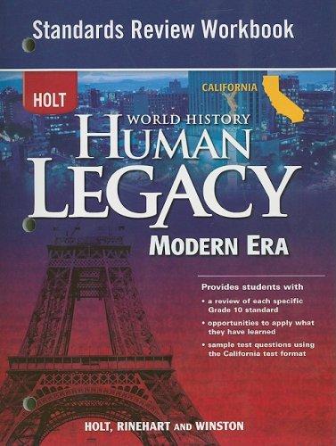 9780030939211: Holt California World History Human Legacy Modern Era Standards Review Workbook