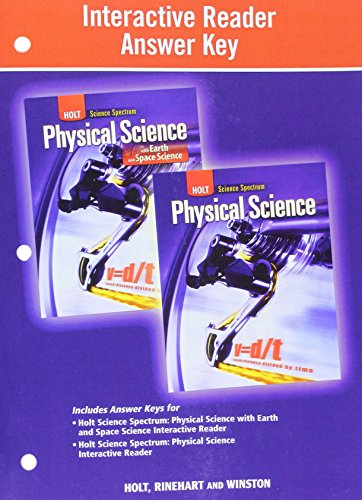 9780030939273: Holt Science Spectrum: Physical Science with Earth and Space Science: Interactive Reader Answer Key