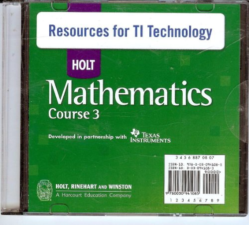 9780030941085: Holt Mathematics Course 3: Resources for Texas Instruments Technology CD-ROM