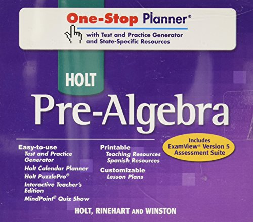 9780030941788: Holt Pre-Algebra: One-Stop Planner with Test and Practice Generator and State-Specific Resources