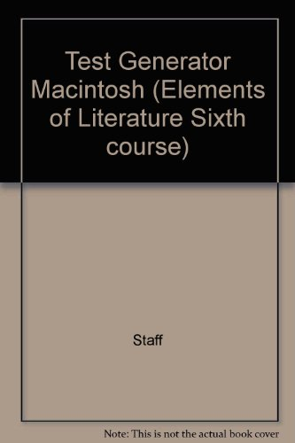 9780030943706: Test Generator Macintosh (Elements of Literature Sixth course)
