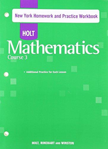9780030944611: Holt Mathematics New York: Homework and Practice Workbook Course 3