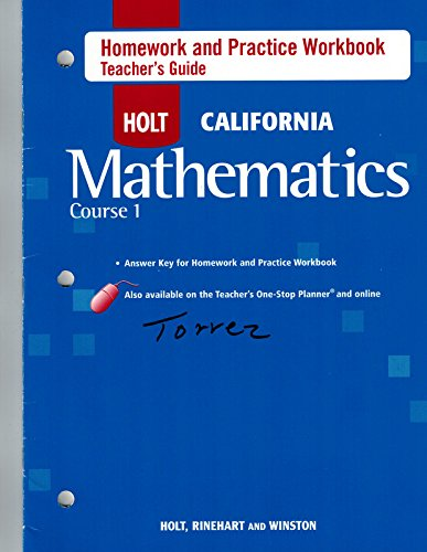 9780030945298: Course 1 Homework and Practice Workbook Teacher's Guide (HOLT CALIFORNIA Mathematics)
