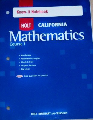 9780030945328: Holt Mathematics California: Know-It Notebook Course 1