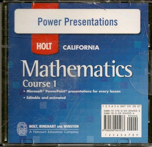 9780030945533: Holt California Mathematics Course 1 Power Presentations