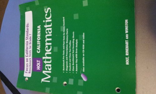 9780030945717: California Mathematics (Focus on California Standards: Benchmark Tests for Grade 7)
