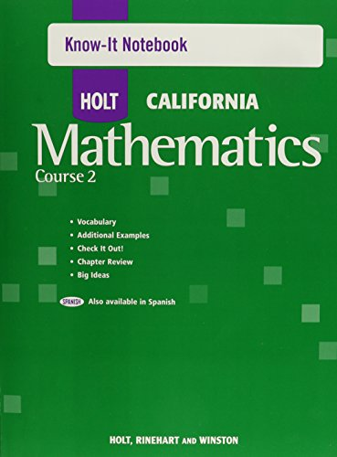 9780030945793: Holt Mathematics California: Know-It Notebook Course 2