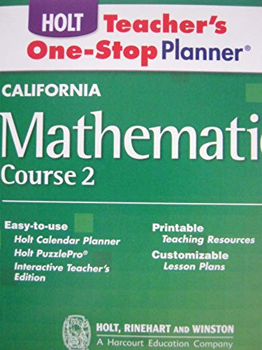9780030945878: Holt Mathematics California: Teachers One-Stop Planner Cd-Rom Course 2