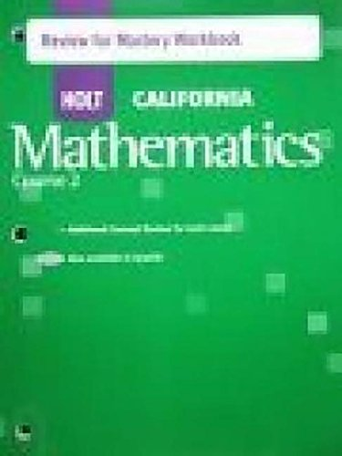 9780030945885: Holt Mathematics California: Review for Mastery Workbook Course 2