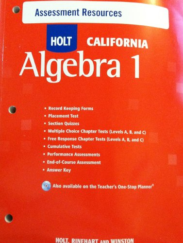 9780030946035: Holt Algebra 1 California: Assessment Resources with Answers Algebra 1