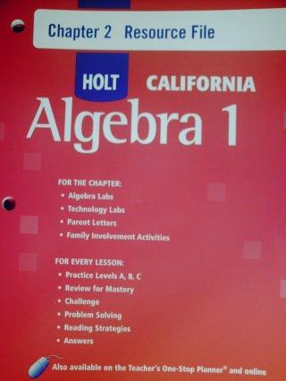 9780030946066: Holt Algebra 1 California: Chapter 2 Resource Flie with Answers Algebra 1