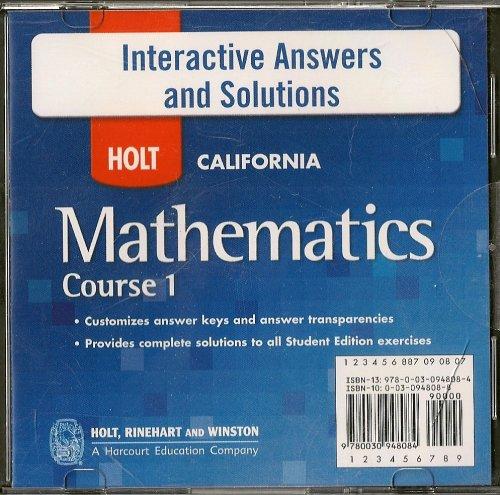 9780030948084: Holt California Mathematics Course 1 Interactive Answers and Solutions (HOLT CALIFORNIA Mathematics Course 1)