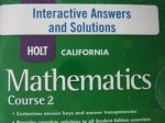 9780030948091: Holt Mathematics California: Interactive Answers And Solutions Cd-Rom Course 2