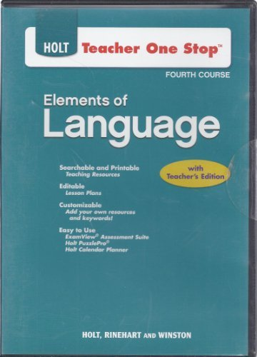 9780030953958: Holt Teacher One Stop Planner for Elements of Language 4th Course by Holt Rinehart Winston (2007-05-03)