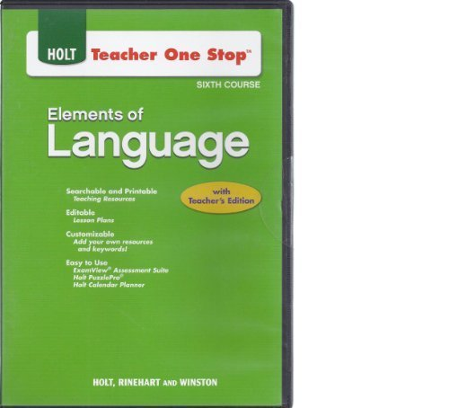 9780030953972: Teacher One Stop CD-ROM Sixth Course (Holt Elements of Language)