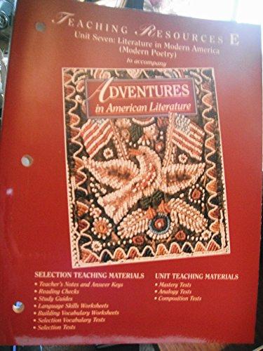 9780030954658: Adventures in Literature, Teaching Resources E (Unit 7) : Athena Edition