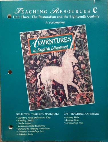 ADVENTURES IN ENGLISH LIT: Teaching Resources C.(Unit 3): Holt Rinehart and Winston