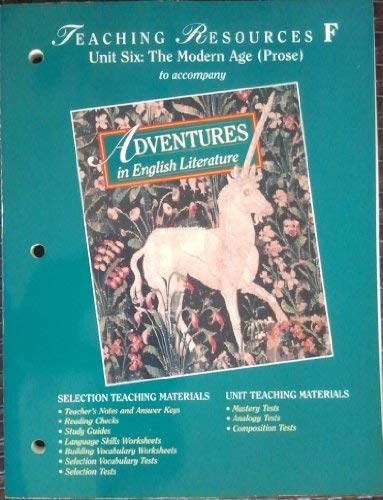 9780030954726: ADVENTURES IN ENGLISH LIT: Teaching Resources F....(Unit 6).