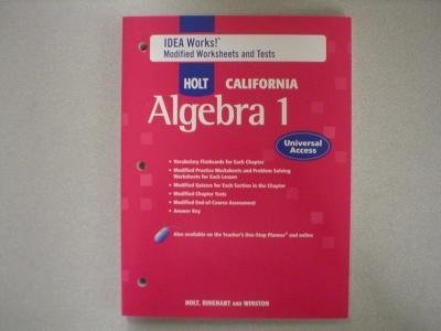 9780030958779: IDEA Works! Modified Worksheets and Tests (HOLT CALIFORNIA Algebra 1)