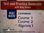 9780030962608: Test and Practice Generator with Quiz Game (HOLT MATH CALIFORNIA Course 1 Course 2 Algebra 1) (HOLT MATH CALIFORNIA Course 1 Course 2 Algebra 1)