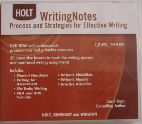 Elements of Language: Writing Note CD-ROM Grades 11-12: HOLT, RINEHART AND WINSTON