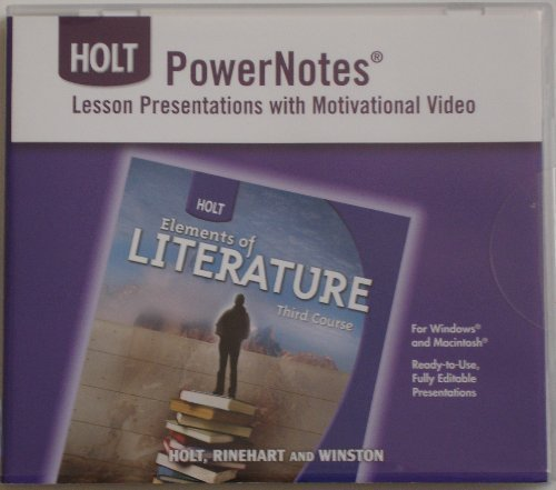 9780030963223: Holt PowerNotes Lesson Presentations with Motivational Video for Elements of Literature Third Course [CD-ROM]