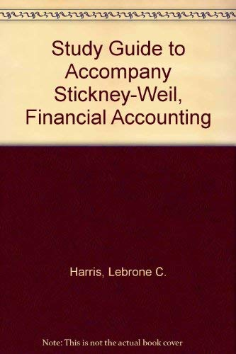 9780030966507: Study Guide to Accompany Stickney-Weil, Financial Accounting